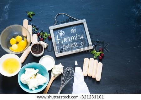 Ingredients for tiramisu cake - stock photo
