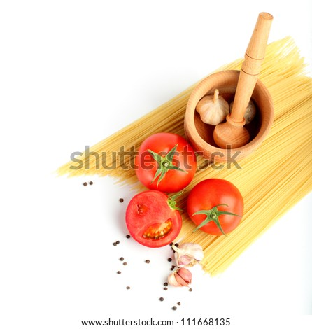 ingredients for tomatoe sauce and spaghetti top view - stock photo