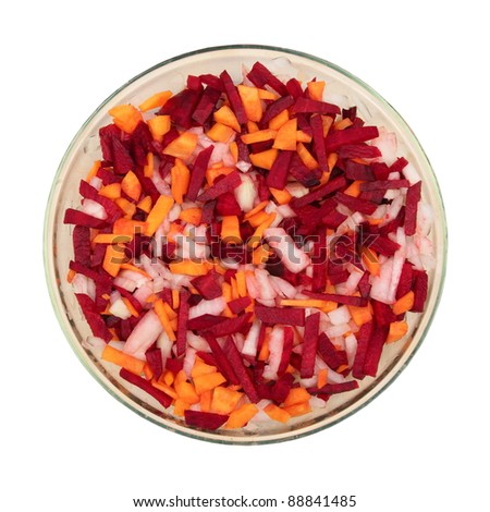 ingredients - fresh chopped carrots, onions, beets - stock photo