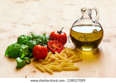 Ingredients Italian food on a table - stock photo