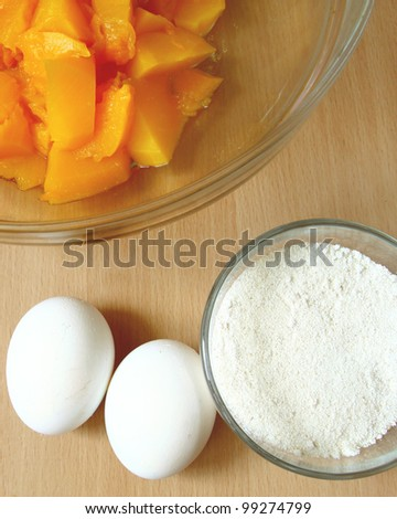 ingredients of baking with a pumpkin - stock photo