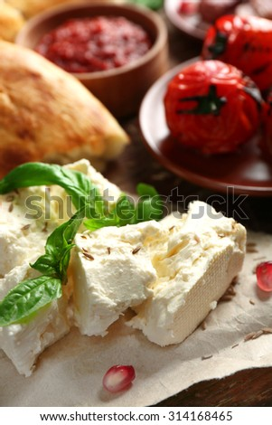 Ingredients of Mediterranean cuisine, on wooden board, close-up