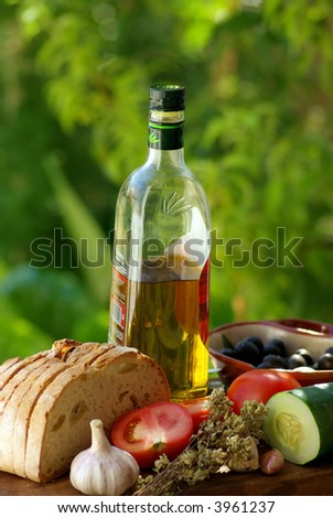 Ingredients of the  mediterranean cuisine.