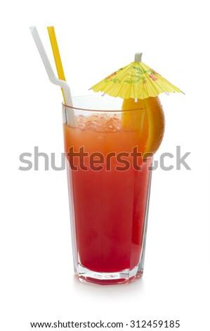 Ingredients: rum, coconut rum Malibu, pomegranate syrup, grenadine, orange juice, pineapple juice, crushed ice  - stock photo