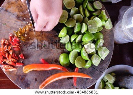 Ingredients set for Thai spicy food  include lemon and red chili - stock photo