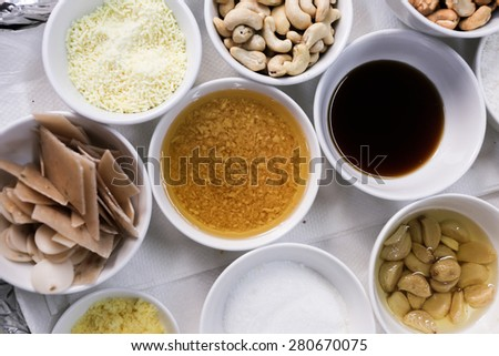 ingredients that usually use in kitchen - stock photo