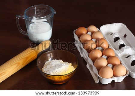 ingredients to make a dough or sauce - stock photo