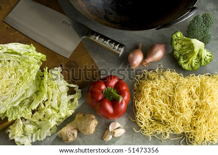 Ingredients to make a stir-fry - stock photo