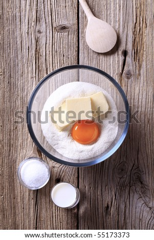 Ingredients to prepare savory pastry - stock photo