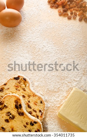 ingredients to produce a christmas stollen - stock photo
