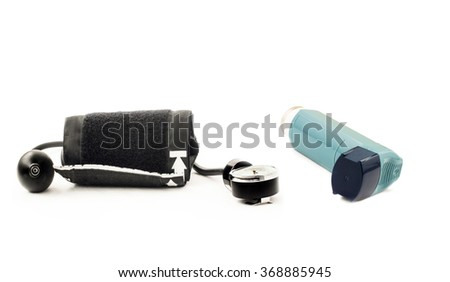 Inhaler device for pressure measurement on a white background