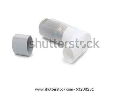 Inhaler with a cover on a white background - stock photo