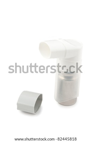 Inhaler with a cover vertically isolated on a white background - stock photo