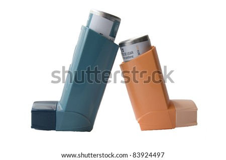 Inhaler with a drug on a white background - stock photo