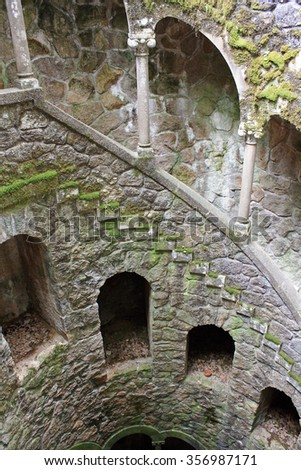 Initiation Well is located in Quinta da Regaleira, in Sintra in Portugal. - stock photo
