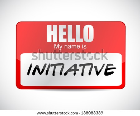 initiative name tag illustration design over a white background - stock photo
