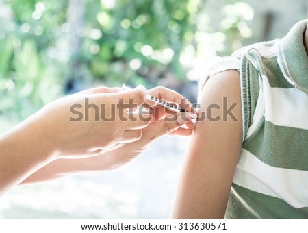 Injection vaccinate protection - stock photo