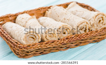 Injera - Ethiopian sourdough flatbread.  - stock photo