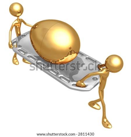 Injured Gold Nest Egg On A Stretcher - stock photo