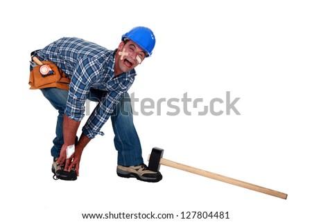 Injured man screaming in agony - stock photo