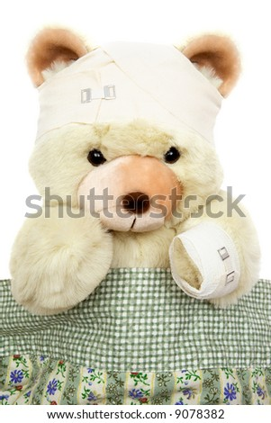 Injured Teddy Bear - stock photo