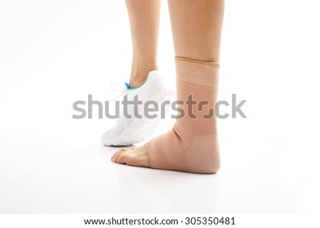 Injury ankle, foot injury. Foot injury, compression bandage - stock photo