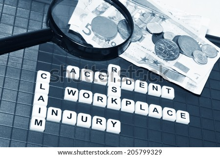 Injury claim concept with key words and cash compensation - stock photo