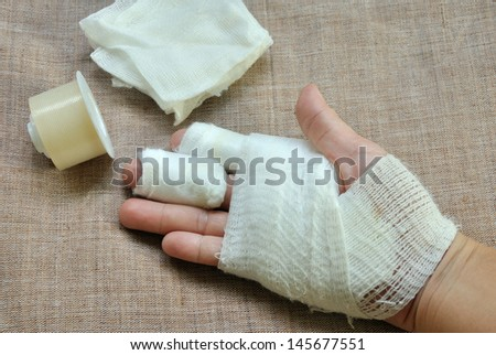 injury hand  with bandage and first aid tape