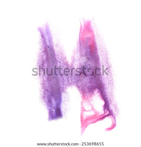 ink blot splatter background pink, lilac isolated on white hand painted