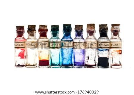 ink bottles - stock photo