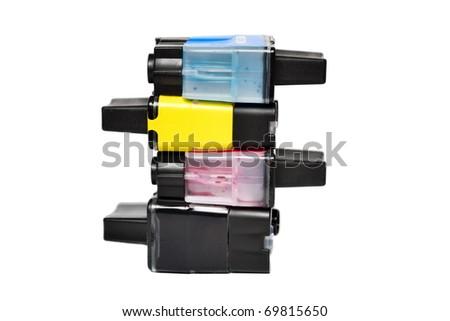 Ink cartridges isolated on white - stock photo
