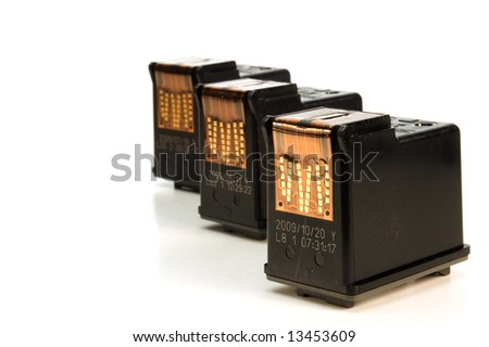 ink cartridges over white background
