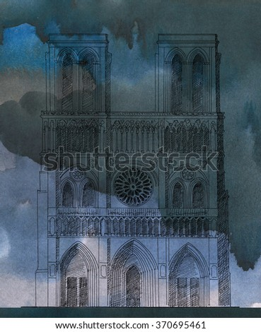 Ink drawing of Notre-Dame de Paris Cathedral, France - stock photo