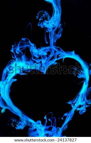 Ink Drop formed as a heart in blue - stock photo