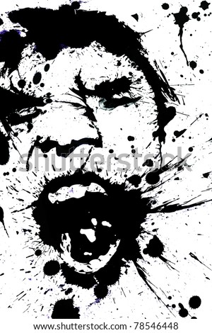 Ink Drops Portrait of a Screaming Young Man - stock photo