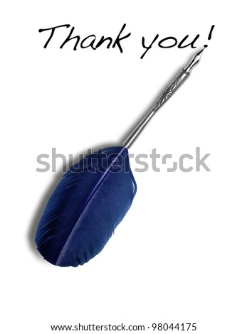 "Ink feather tool write ""thank you!"" - stock photo"