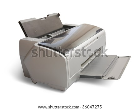 ink-jet A3 printer . Isolated on white with clipping path - stock photo
