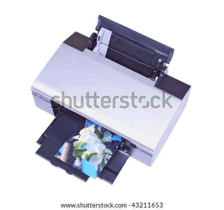 Ink-jet printer with my own image isolated over white - stock photo