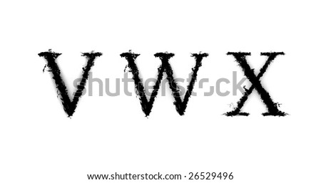 Ink letters: V, W, X on white background - stock photo