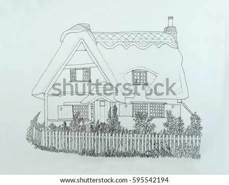 Ink Line Drawing Of English Thatched Cottage With Garden And Picket Fence