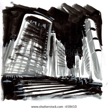 Ink paint of a city scene - stock photo