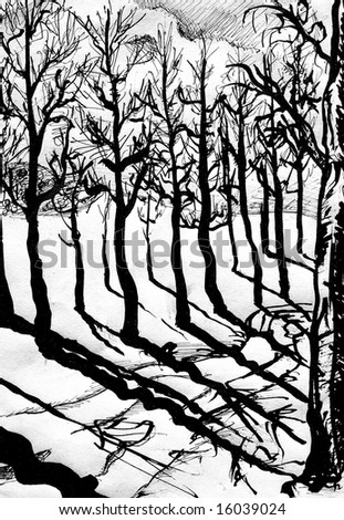 Ink painted illustration of trees, path and shadows.