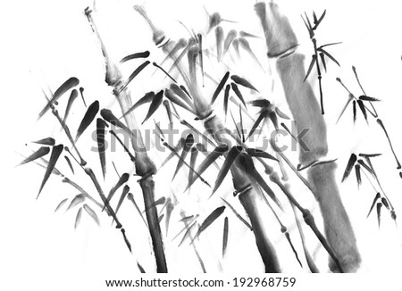 Ink Painting of Bamboo   - stock photo