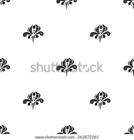 Ink pattern. Damask seamless pattern. Raster illustration. - stock photo