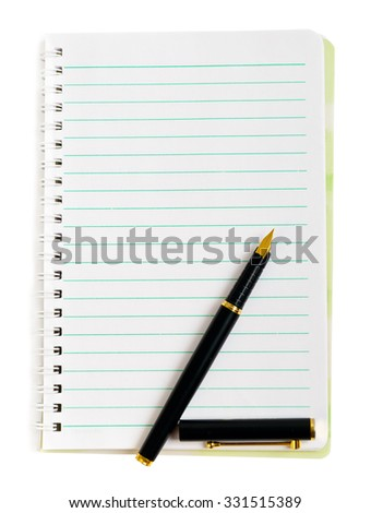Ink pen on lined notepad paper isolated on white