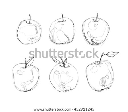 Ink Pencil Watercolor Apple Sketch Line Art Background Hand Drawn Nature Painting