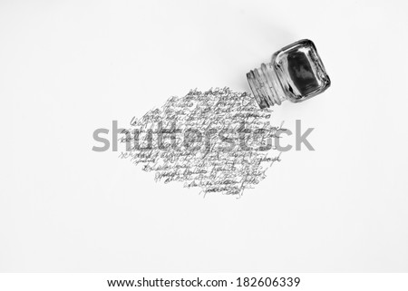 ink pot and calligraphy - stock photo