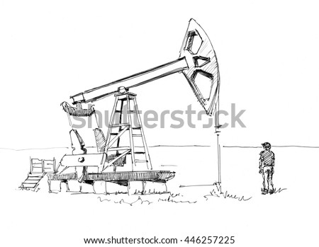 Ink sketch of the oil rig pumping oil from the ground - stock photo