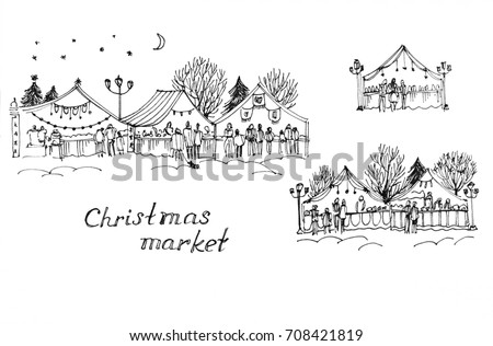 Ink sketches of Christmas markets on white background