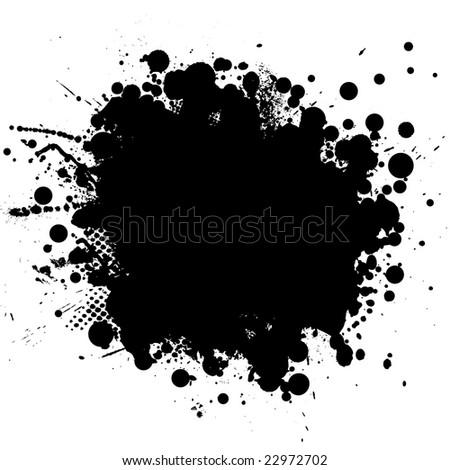 Ink splat in black with half tone pattern - stock photo